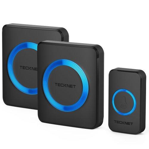 Wireless Doorbell, TeckNet Twin Waterproof Wall Plug-in Cordless Door Chime Kit