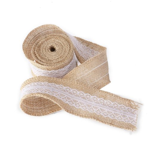 PIXNOR Burlap Jute Lace Hessian Ribbon for Crafts Home Wedding Decor - 5M*5CM