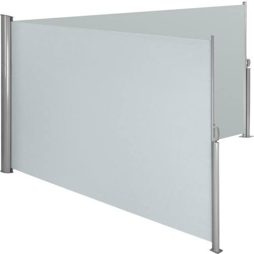 Aluminium double side awning privacy screen grey, 160 x 600 cm
