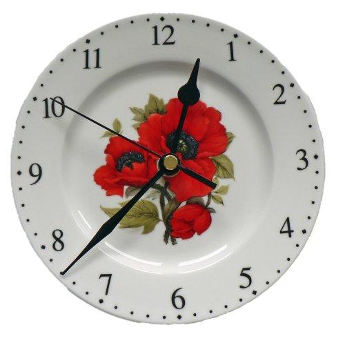 Poppy wall clock. 6inch diameter Porcelain wall clock.