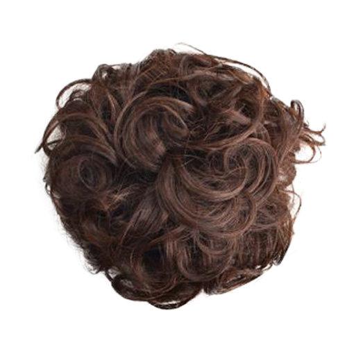 Women's Elegant Human Hair Bun Extension Wavy Hair Bun Donut,Chestnut Brown
