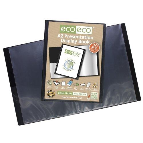 1 x A2 Recycled 20 Pocket (40 Views) Presentation Display Book - Black