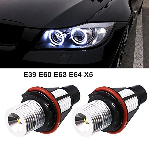 2pcs 1000LM Angel Eyes Light Car LED Bulbs Halo Ring Marker 5W 6000K White for BMW X5 E39 E53 E60 E63 E64