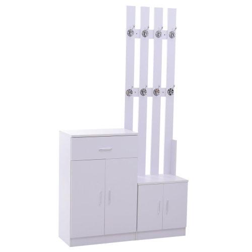 HOMCOM 3 In 1 Shoes Cabinet Coat Rack 13 Pairs Footwear Organiser 8 Hooks White