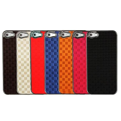 Lattice Pattern PU Plastic Back Cover Case Skin Protector For iPhone 5