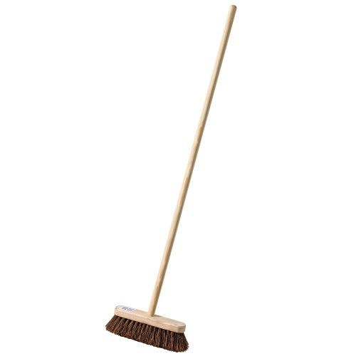 Garden Broom with Nailed Handle 10 inch Semi Stiff Bassine Sweeping Brush