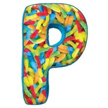"iscream Luscious Letters! P Initial 16"" x 9.5"" Photoreal Fleece-Backed Microbead Pillow"