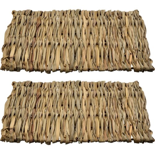 2 Pack Small Animal Chew Toy Beds Natural Handwoven Grass Mats, Safe and Edible for Hamsters, Rabbits, Parrot Guinea Pig and Ferret