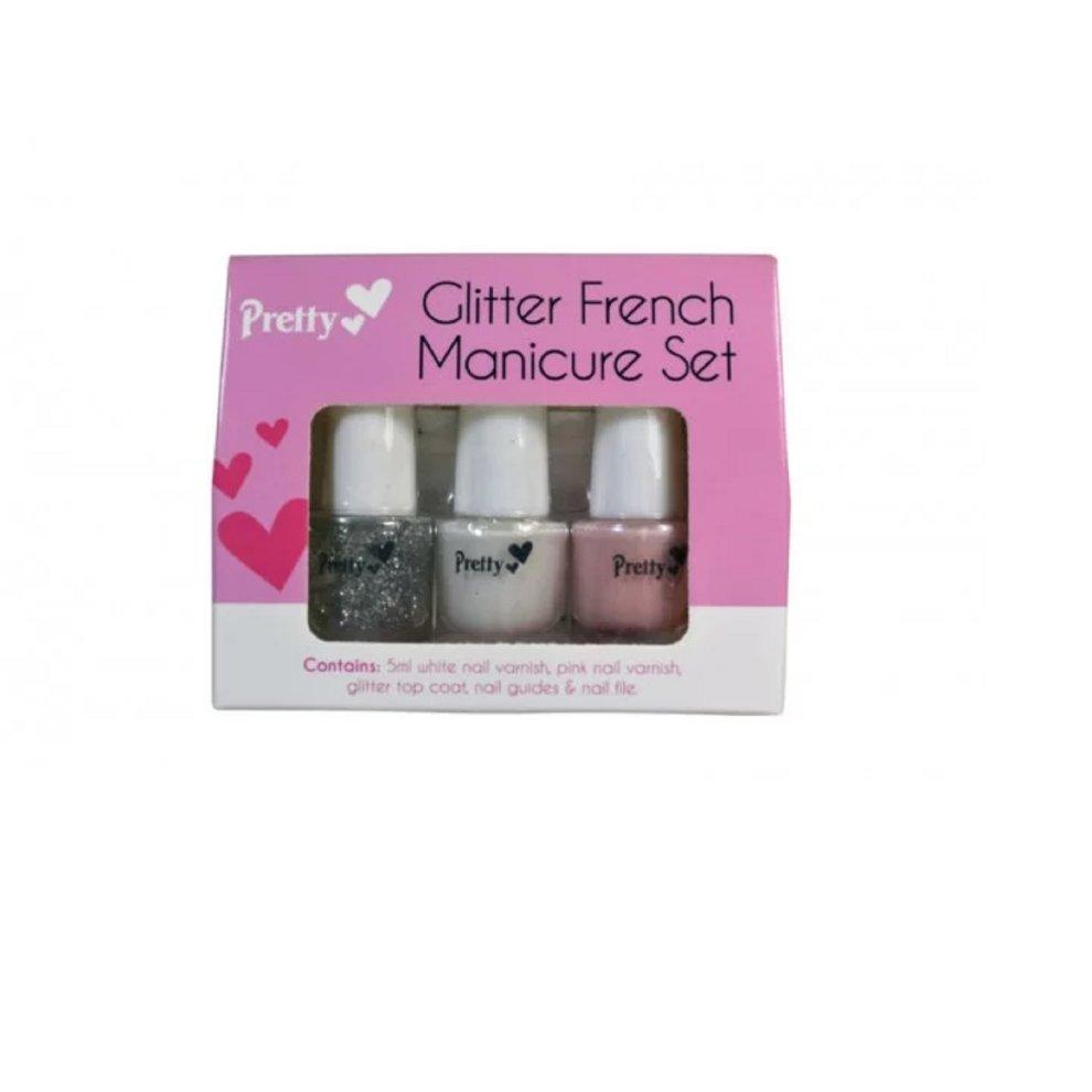 Pink Nail Polish Top Coat: Glitter French Manicure Set White, Pink Nail Varnish