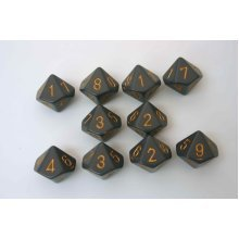 Chessex Opaque 10 x D10 Set - Dark Grey/copper