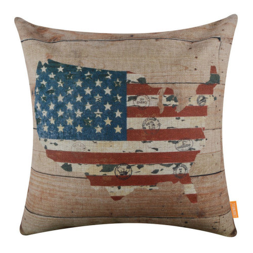 """18""""x18"""" Independence Day Wood America Map Holiday Burlap Pillow Cover Cushion Cover"""