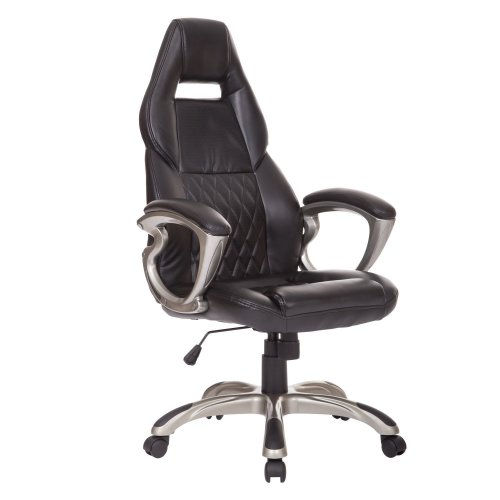 Homcom Quilted Faux Leather Desk Chair | Racing Style Office Chair