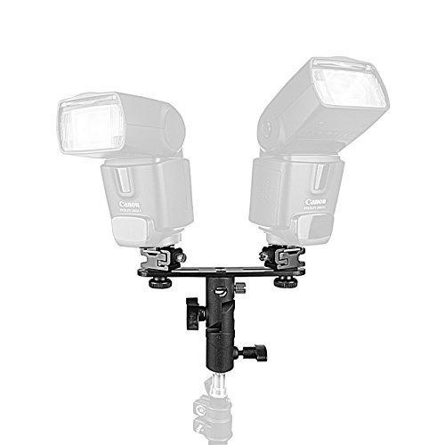 PhotoTrust Double Metal Flash Bracket Swivel Bracket Umbrella Holder Studio Tilting Bracket for Canon Nikon Pentax Olympus Sony