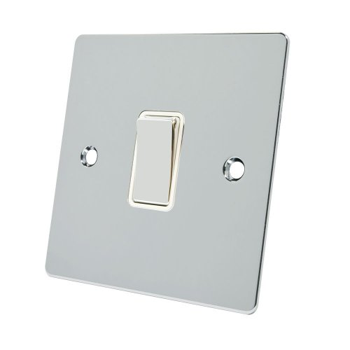 Alliance Electrical FPC1GSWIWC 10 A 1 Gang 2 Way White Insert Flat Metal Rocker Light Switch - Polished Chrome
