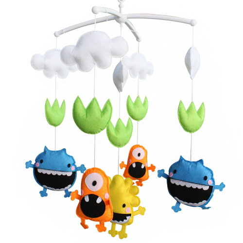 Baby Boy & Girl Bedding Rattle Toy, Baby Gift, Infant Bed Bell [Monster]
