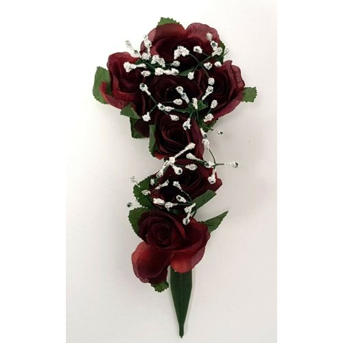 Burgundy Artificial Rose & Gypsophila Flower Cross - 26cm - Memorial & Grave