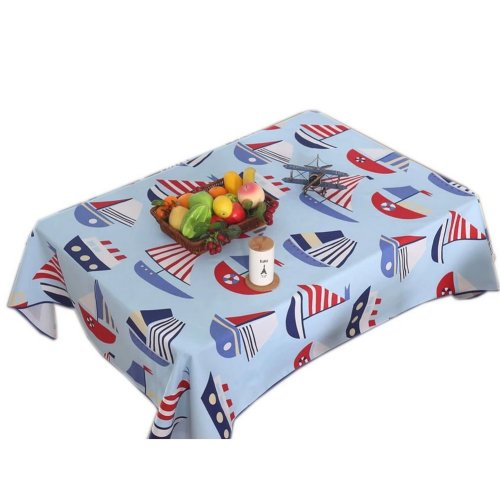 Funny Kids Blue Sailing Boat Linen Table Cloth, 57 By 86 Inches