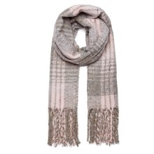 (Grey) Miss Lulu Women's Check Print Shawl | Soft Blanket Scarf