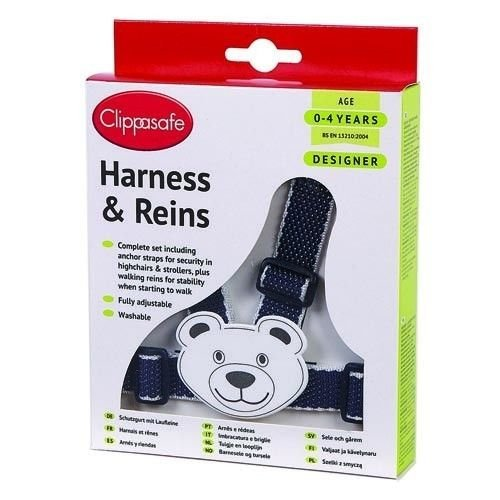 Clippasafe Teddy Harness And Reins - Character Easy Wash Navynavywhite -  clippasafe harness character easy wash navynavywhite multicolour