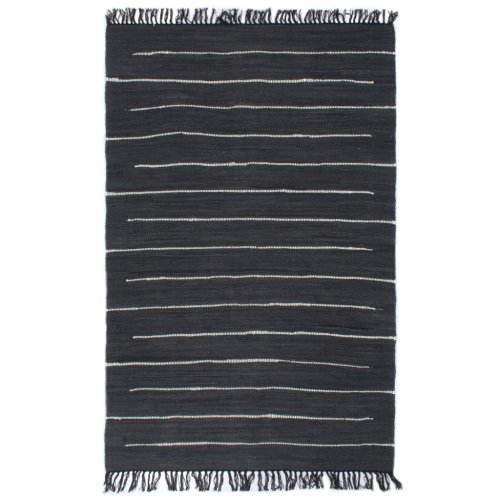 vidaXL Hand-woven Chindi Rug Cotton 160x230cm Anthracite Room Floor Carpet Mat