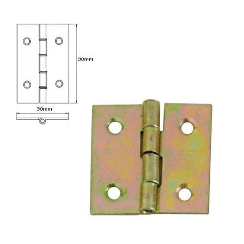 5 Pcs Folding Closet Cabinet Door Butt Hinge Brass Plated 30x30mm