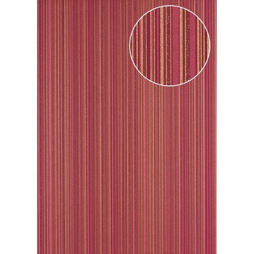 Atlas PRI-5047-4 Stripes wallpaper glittering gold claret-violet 5.33 sqm