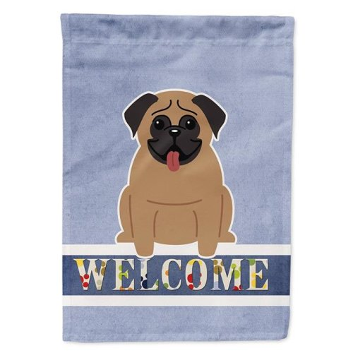 Carolines Treasures BB5586CHF Pug Brown Welcome Flag Canvas House Size
