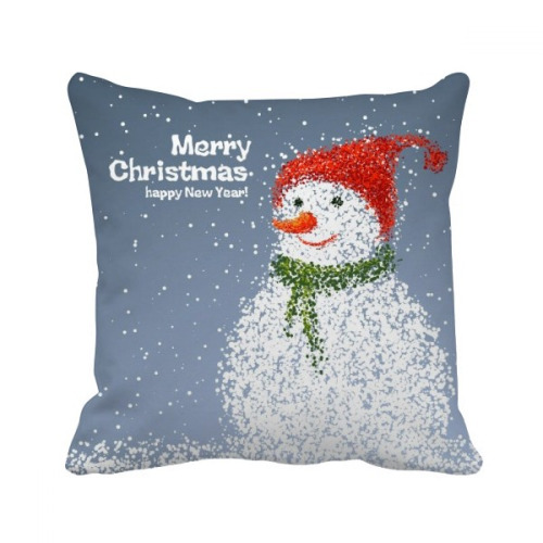Merry Christmas Snowman Festival Throw Pillow Square Cover