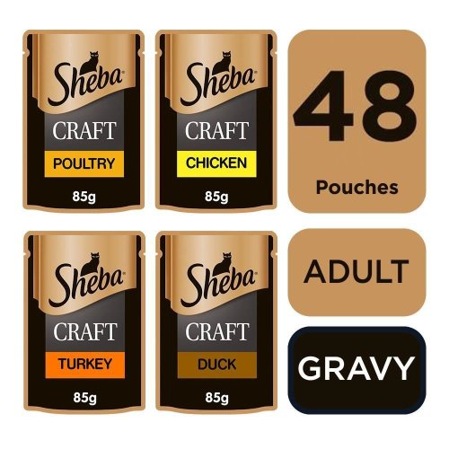 SHEBA Craft Cat Pouches Poultry Selection in Gravy 12x85g (Pack of 4)