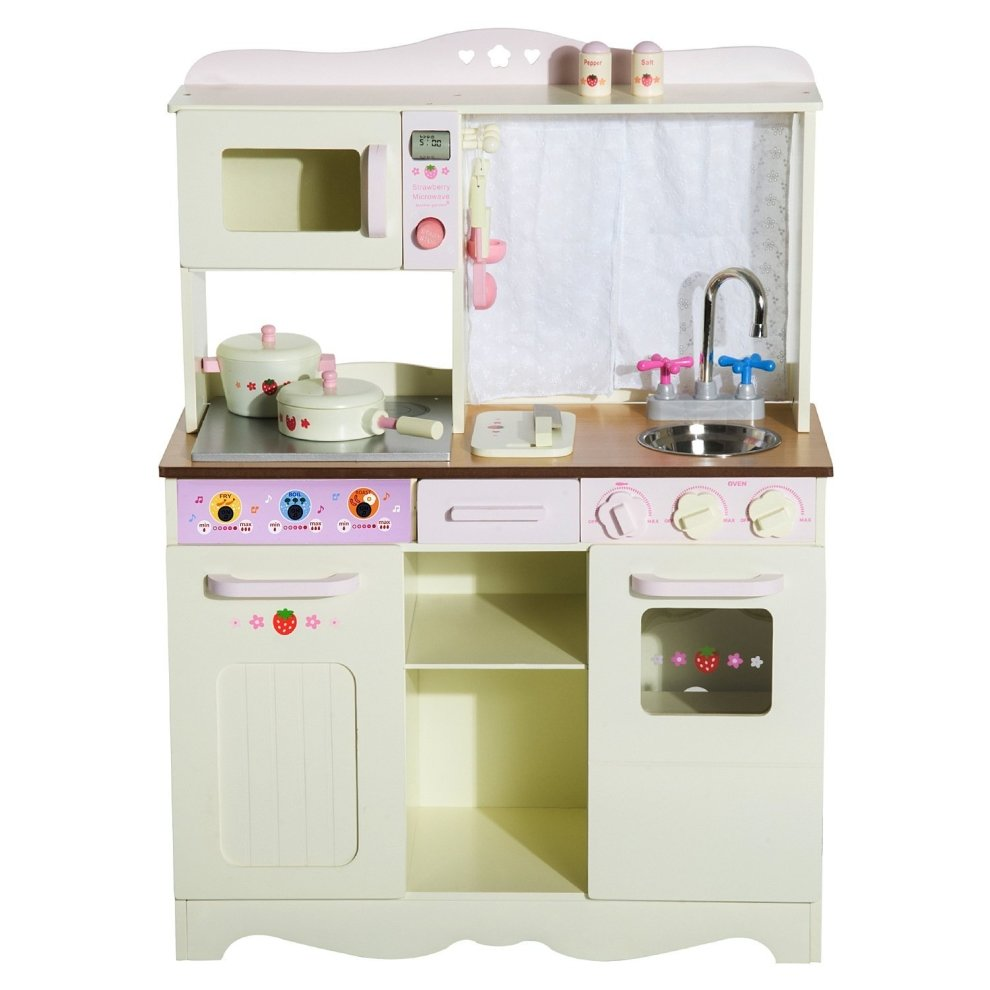 Large Play Kitchen: Homcom Kids Wooden Large Kitchen Role Play Set Learning