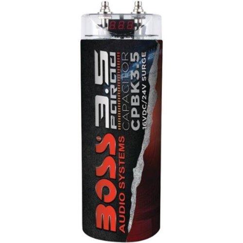 Boss 3.5 Farad Capacitor, Digital Voltage Meter - Black - CPBK3.5