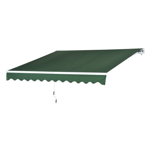Outsunny Window Awning Canopy Sun Shade UV Blocker w/ Hand Crank (3 x 2.5m, Dark Green)