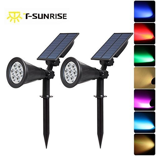 Led Solar Spotlights T Sunrise 7 Color Changing Garden Lights Security Lighting Path Landscape Light For Patio Lawn Tree Yard On