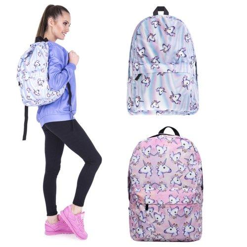 3D Unicorn Printing Multicolor Rainbow Girl Backpack School Bag Travel Rucksack