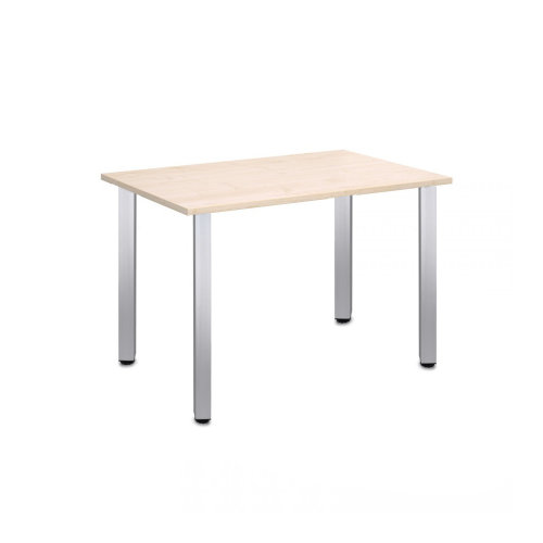Computer Desk Office Dining Table Workstation Aluminium Legs Square Maple Top 120x80cm
