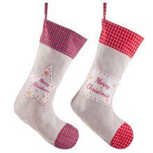 Pair of Linen & Red Tartan 38cm 'Merry Christmas' Stockings