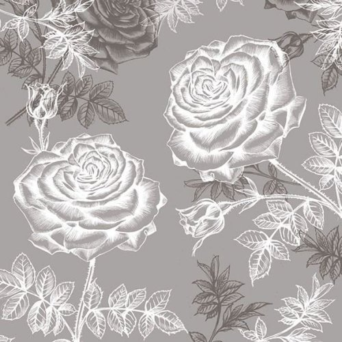 4 x Paper Napkins - Etching Roses in Grey - Ideal for Decoupage / Napkin Art