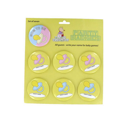 Alandra Personalised Badges - Baby Shower -  baby shower mum party badges set fun games 7 alandra gift new seven 1 6 guests gifts