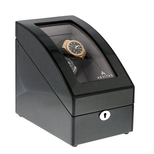 Carbon Fibre 2 Watch Winder with LED Light Plus Storage by Aevitas