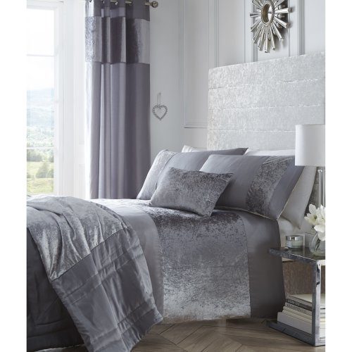 Boulevard Grey Crushed Velvet Bedding Set