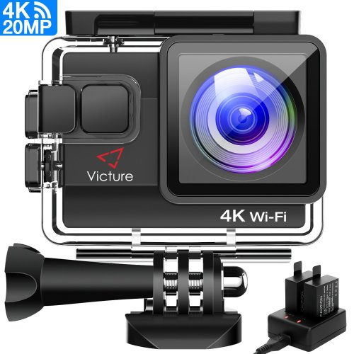 Victure 4K Action Camera Waterproof Cams Ultra HD 20MP WIFI 40M Underwater Cameras Dual-battery Charger/Time-lapse/Anti-shaking/4x Zoom/Some...