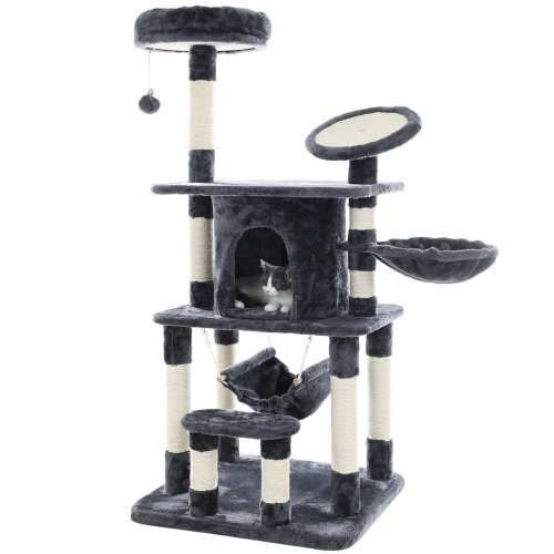 SONGMICS Cat Tree Multi-level Cat Play House Sisal Scratching Pad and Posts PCT25G
