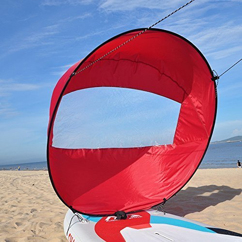 "Huya Force 42"" Kayak Sail Paddle Scout Wind Paddle,Canoe Instant Sail Kit,Rowing Boats Wind Fold Up Sail (Red)"