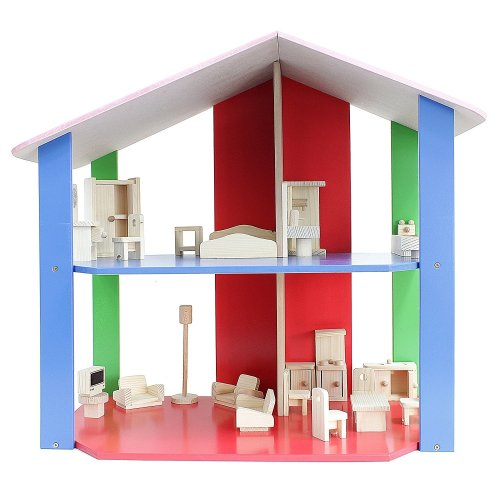 Obique Children's Wooden Toy Set, Doll House and Furnitures