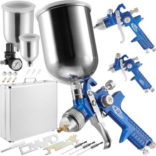 3 HVLP paint spray guns (0.8 + 1.3 + 1.7 mm) + case - blue