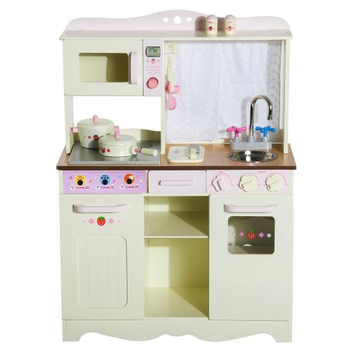 Homcom Kids Wooden Large Kitchen Role Play Set Learning Toy White