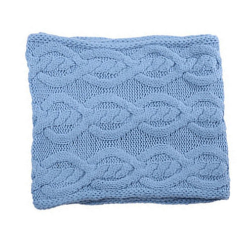 Premium Warm Knit Scarf Infinity Knitted Scarves Neck Scarfs Wrap, Light Blue