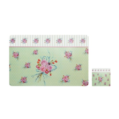 Set of 4 Vintage Rose Placemats And Coasters - Green