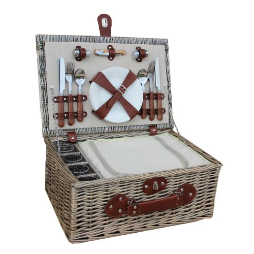4 Person Chiller Picnic Basket with Glasses