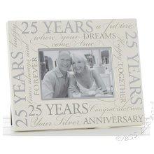 "Silver Wedding 25th Anniversary Script 6"" x 4"" Photo Frame"